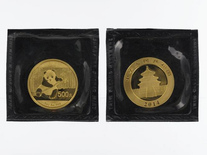 China 500 Yu  Panda 2014 Folie, 1 Unze Feingold