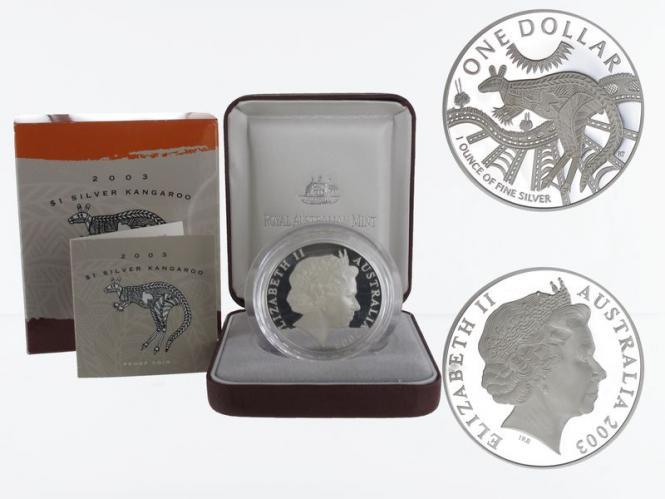 Australien 1$ Känguru 2003, 1 oz  Silber proof (B+C)