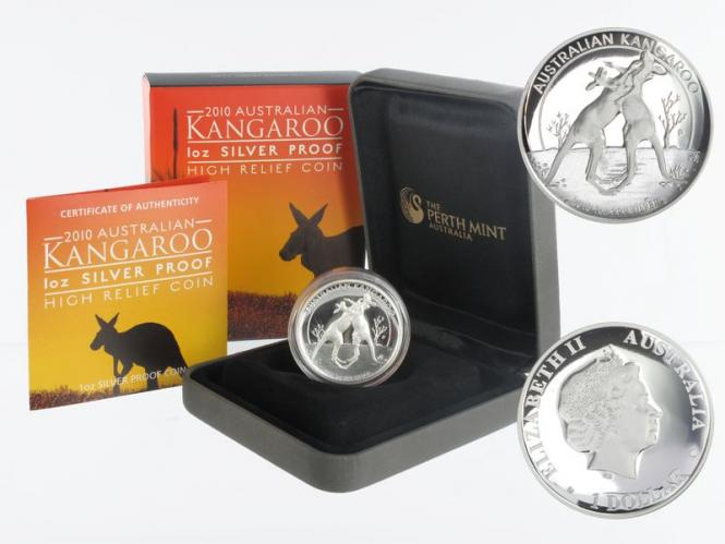 Australien 1$ Känguru 2010, high relief PP, Box + CoA