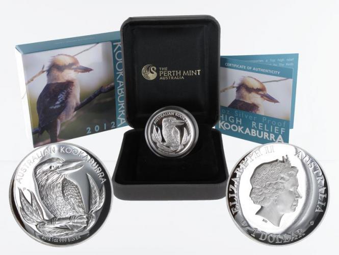 Australien 5$ Kookaburra 2012, high relief PP, Box + CoA