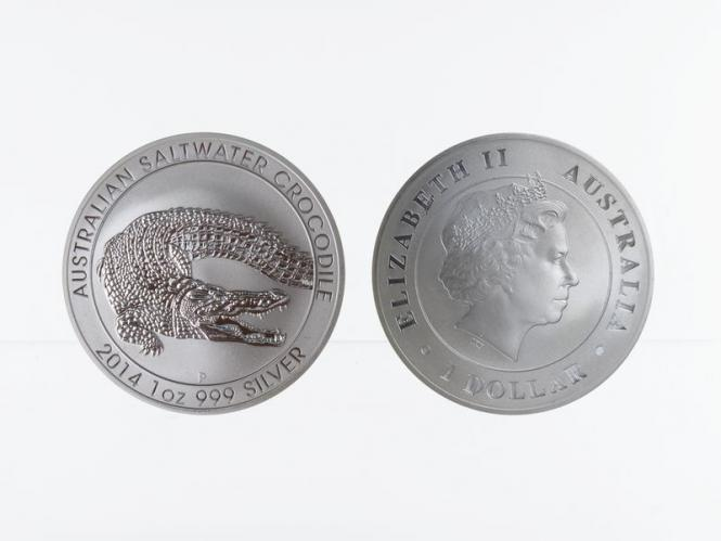 Australien 1$ Salzwasser Krokodil Perth 2014, 1 oz  Silber