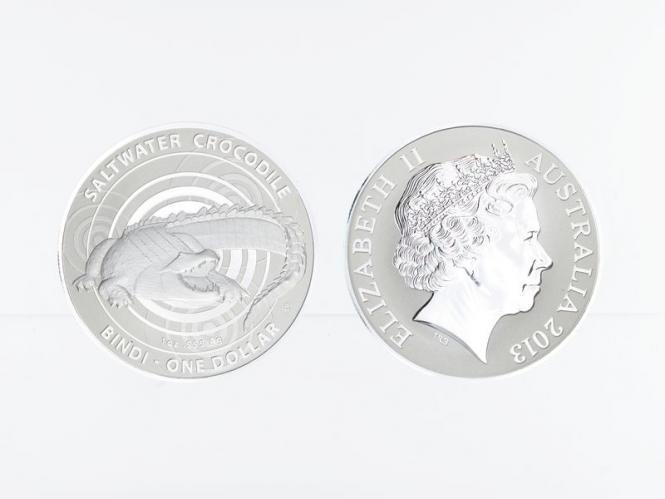 Australien 1$ Saltwater Crocodile (RAM), Bindi 2013, 1 oz  Silber