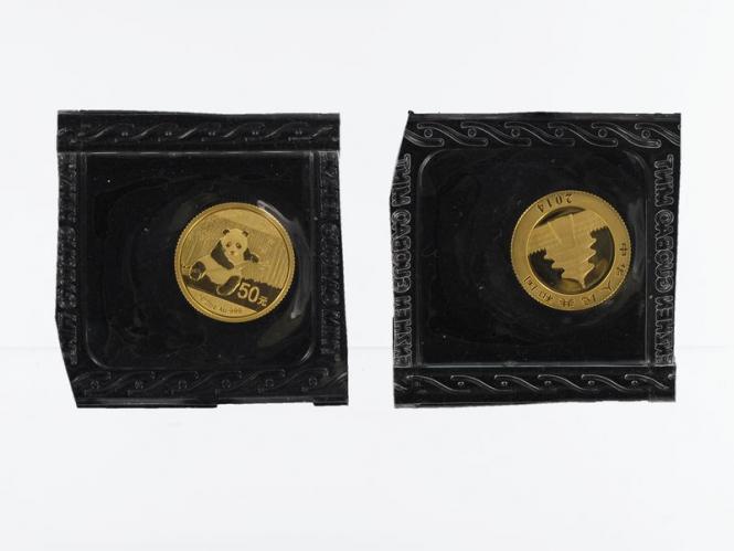 China 50 Yu  Panda 2014 Folie, 1/10 Unze Feingold