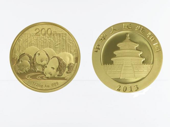 China 200 Yu  Panda 2013, 1/2 Unze Feingold