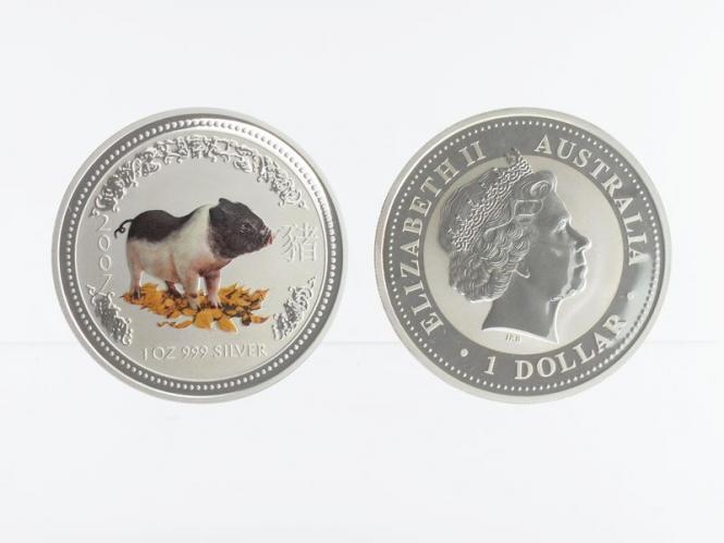 Australien 1 $ Schwein Lunar I  2007 farbig, 1 oz