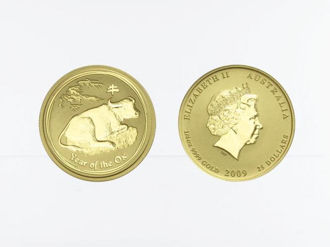 Australien 25 $ Lunar II  Ochse, 1/4 Unze  2009