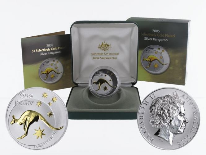 Australien 1$ Känguru 2005, 1 oz gold plated (B+C)