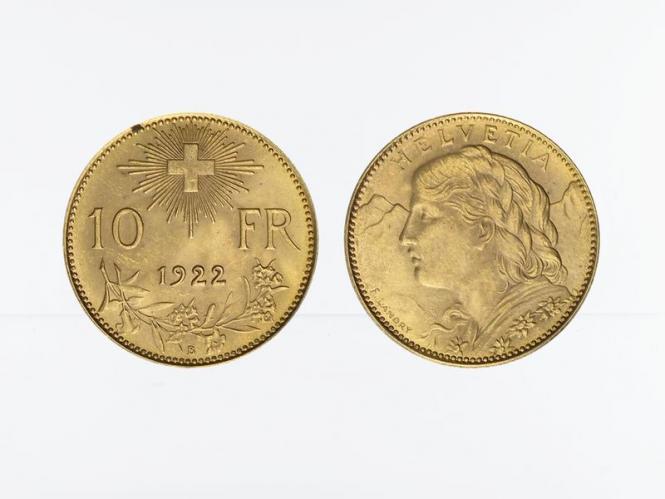 Schweiz 10 Franken Vreneli Goldmünze 1922