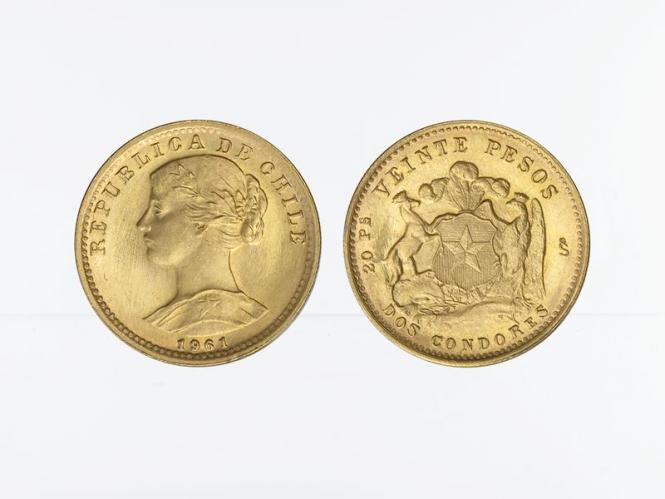 Chile 20 Pesos Freiheitskopf 1961