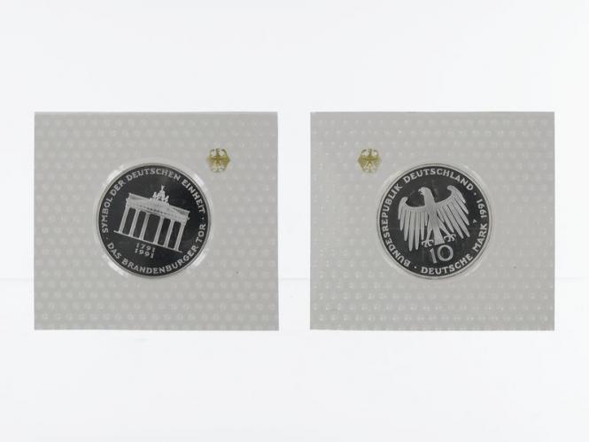 Brandenburger Tor 1991, 10 DM Silber, PP