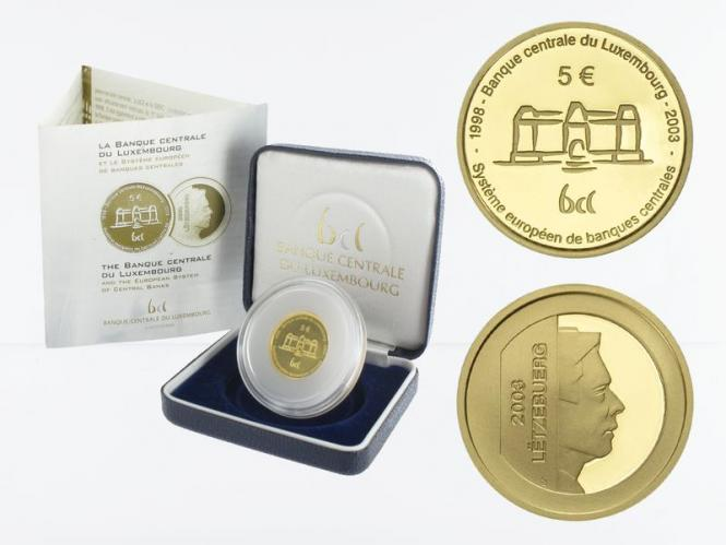 Luxemburg 5 Euro Gold, 2003, Zentralbank, (B+C)