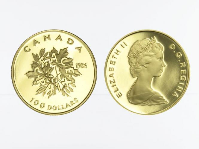 Kanada Zweige 100 Dollars 1986, 1/2 oz proof
