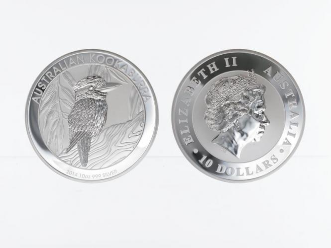 Australien 10$ Kookaburra 2014, 10 oz  Silber