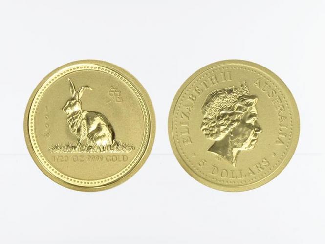 Australien 5 $ Lunar I Hase, 1/20 Unze  1999