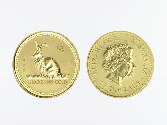 Australien 15$ Lunar I Hase, 1/10 Unze  1999