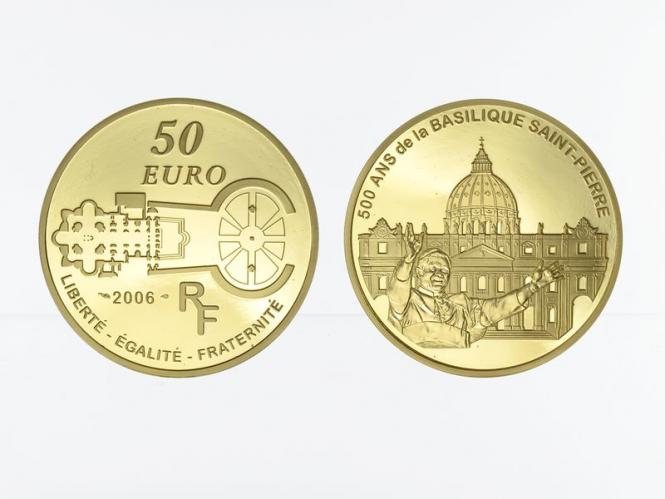 Frankreich 50 Euro Gold, 2006,  Petersdom Papst