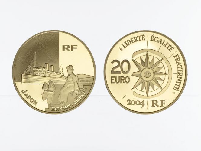 Frankreich 20 Euro Gold, 2004,  Weltreise Schiff