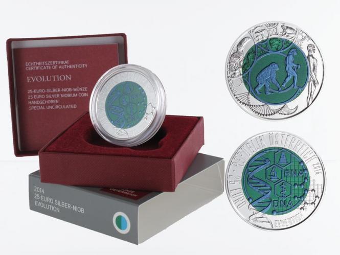 Österreich 25 Euro Niob, Evolution 2014