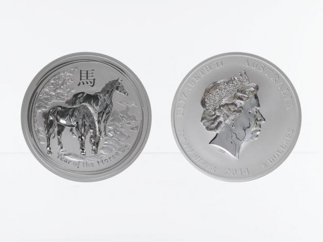 Australien 8$ Pferd Lunar II  2014, 5 oz  Silber