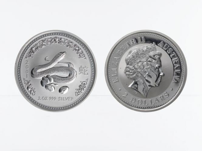 Australien 2$ Schlange Lunar I  2001, 2 oz  Silber