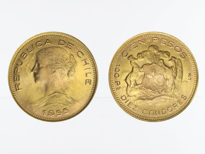 Chile 100 Pesos Freiheitskopf 1955