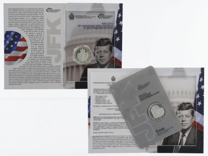 San Marino 5 € John F. Kennedy 2013 PP, Silber Blister