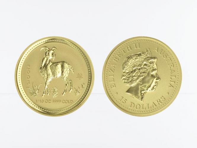 Australien 15$ Lunar I Ziege, 1/10 Unze  2003
