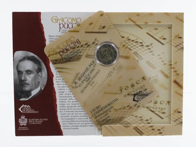 San Marino 2 Euro Münze, 2014, Puccini Folder