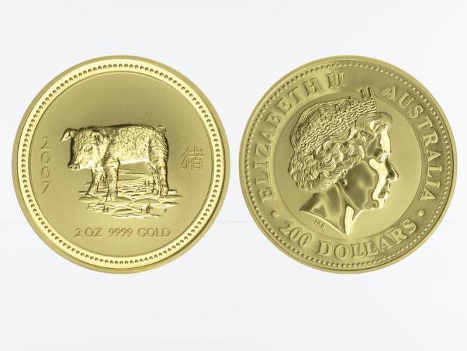 Australien 200 $ Lunar I Schwein, 2 Unzen  2007
