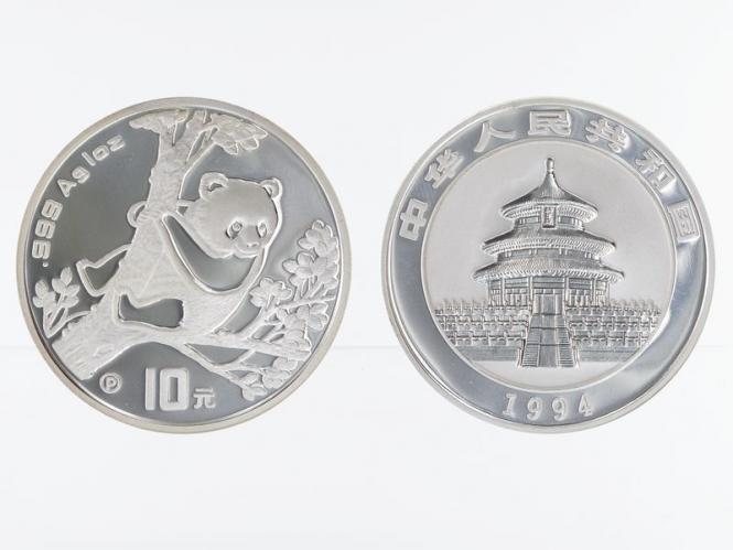 China 10 Yu Panda  1994, 1 oz  Silber PP