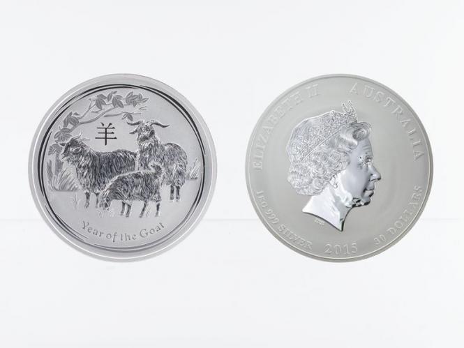 Australien 30 $ Ziege Lunar II  2015, 1 Kilo  Silber