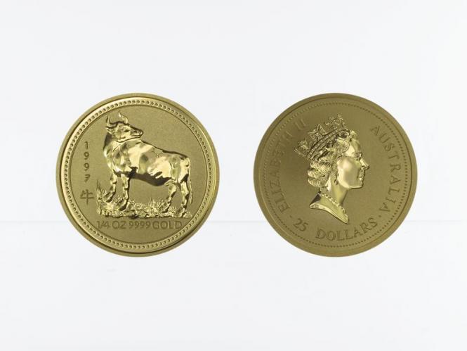 Australien 25 $ Lunar I  Ochse, 1/4 Unze  1997