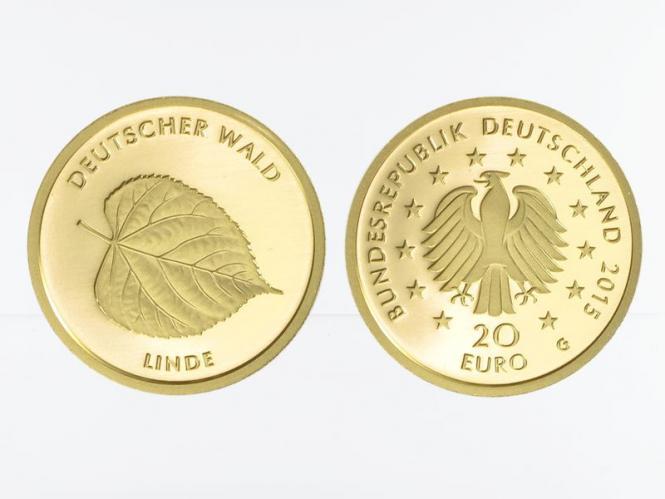 BRD 20 Euro Gold, 2015 F,  Deutscher Wald Linde