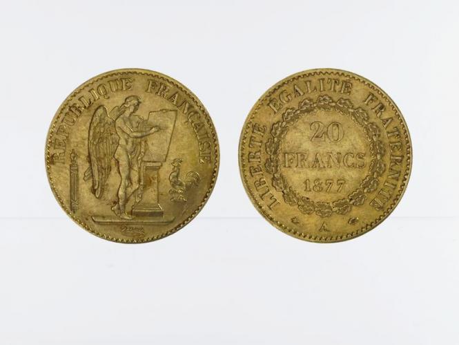 Frankreich 20 Fr. Genius stehender Engel 1877
