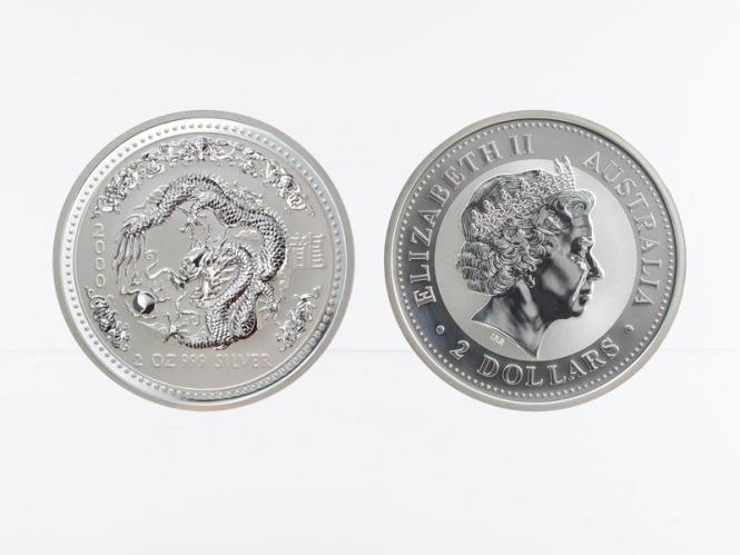 Australien 2$ Drache Lunar I  2000, 2 oz  Silber