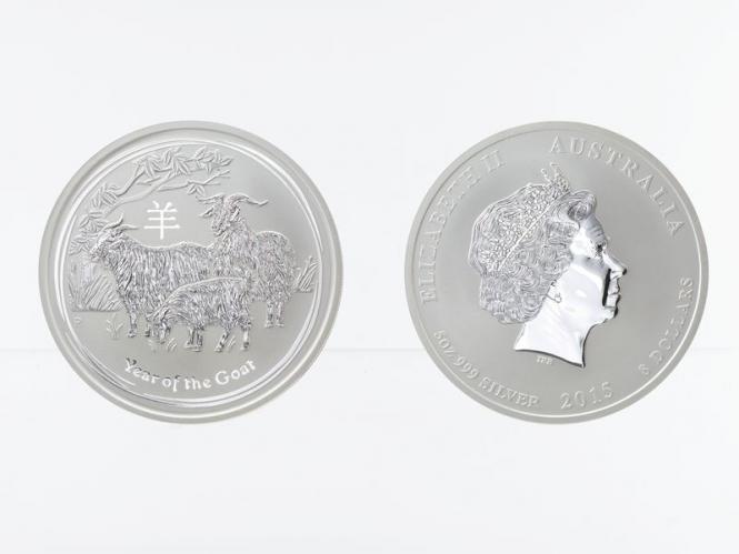 Australien 8$ Ziege Lunar II  2015, 5 oz  Silber