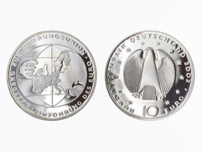 Währungsunion Einführung Euro 10 € Silber, PP