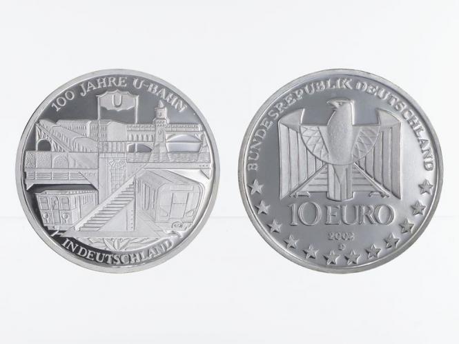 U-Bahn Deutschland 10 € Silber, PP