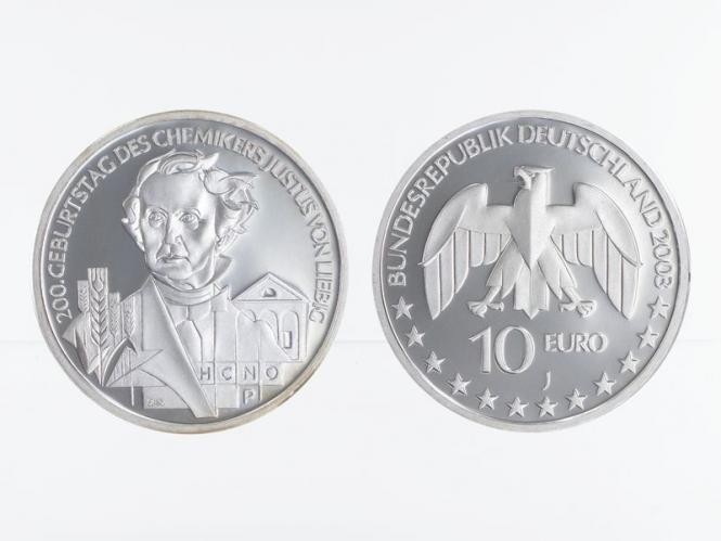 Justus von Liebig 10 € Silber, PP