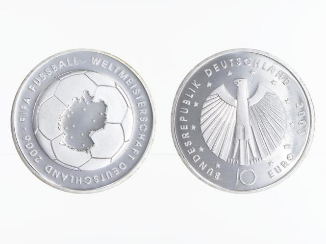 FIFA Fußball WM Landkarte 10 € Silber, PP