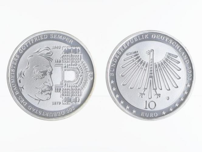 Gottfried Semper 10 € Silber, PP