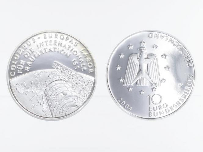 Columbus Raumstation ISS 10 € Silber, PP