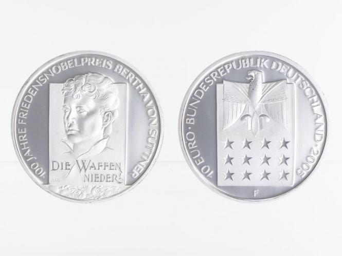 Friedensnobelpreis Bertha von Suttner 10 € Silber, PP