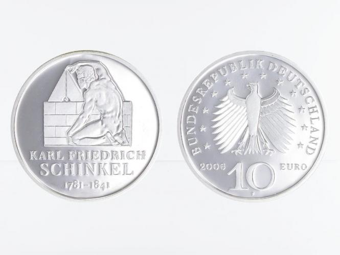 Karl Friedrich Schinkel 10 € Silber, PP