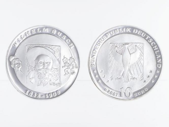 Wilhelm Busch 10 € Silber, PP