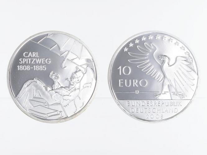 Carl Spitzweg 10 € Silber, PP
