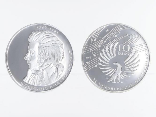 Wolfgang Amadeus Mozart 10 € Silber, PP