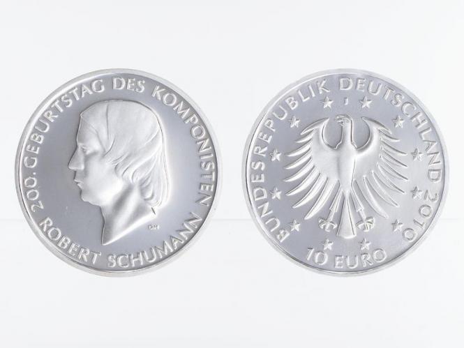 Robert Schumann 10 € Silber, PP