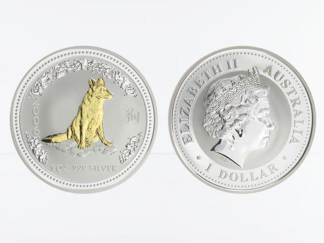 Australien 1 $ Hund Lunar I  2006 gildet, 1 oz  Silber
