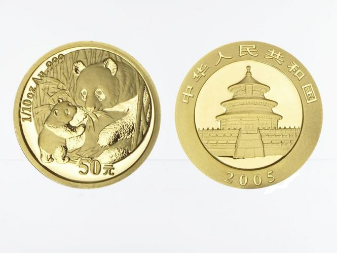 China 50 Yu  Panda 2005, 1/10 Unze Feingold